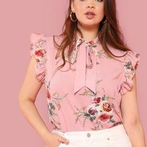 Floral Print Pink Ruffle Plus Size